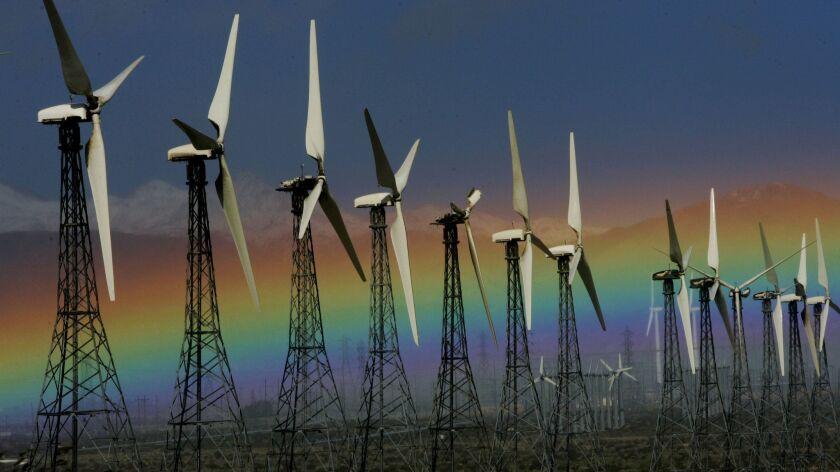Wind turbines in Palm Springs, Calif.