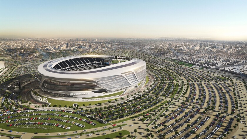 An aerial view of a new rendering of the proposed $1.7-billion, open-air stadium in Carson that could be the home field for both the Chargers and Raiders.