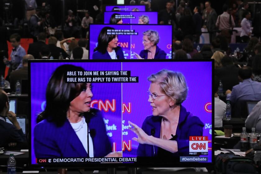 Democratic debate: Warren brushes off Harris' call to kick Trump off Twitter
