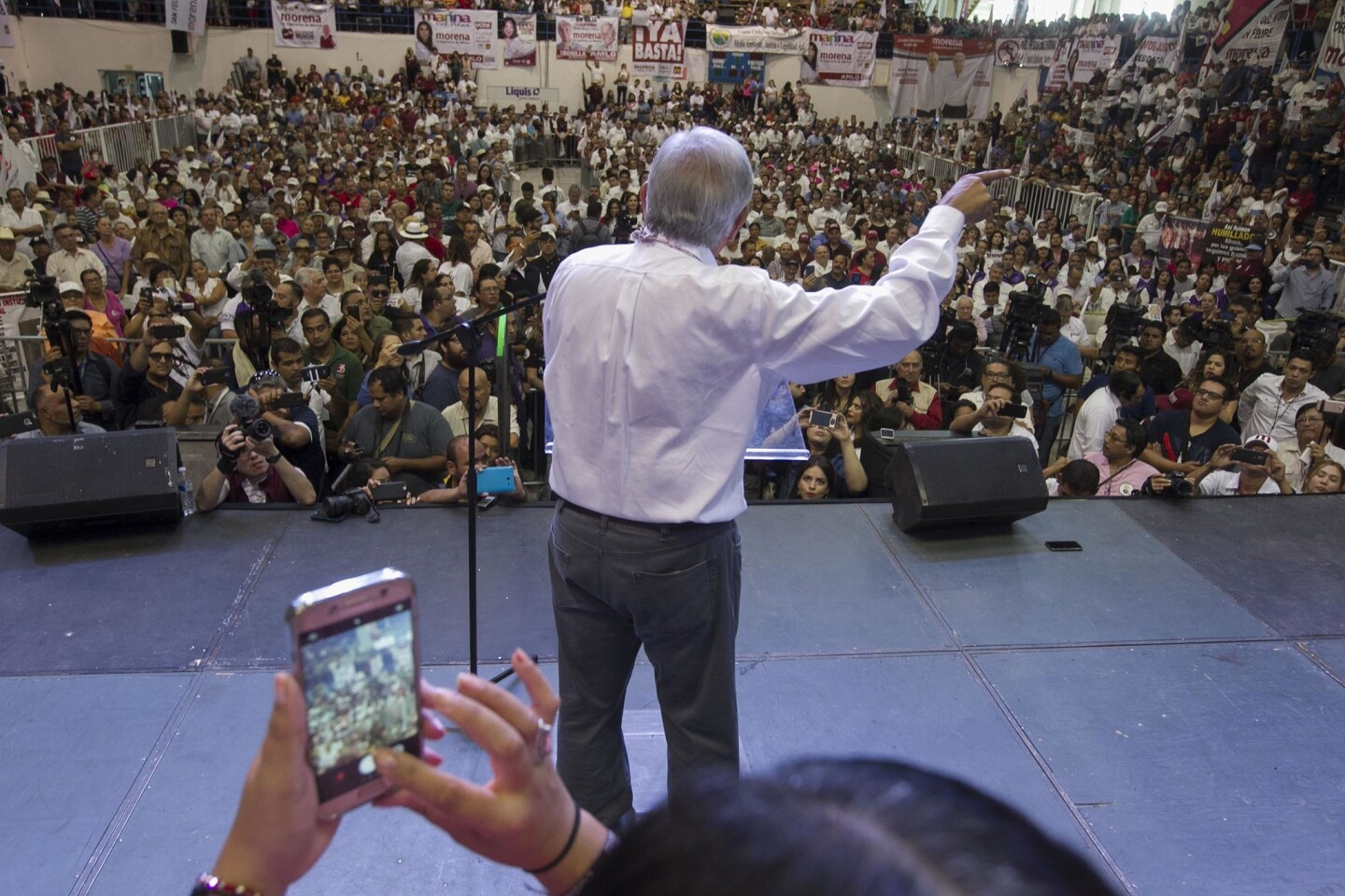 """Mexican Presidential Candidate Andres Manuel Lopez Obrador, of the National Regeneration Movement, or """"morena"""" made his final campaign stop in Mexicali on Monday, June 18, 2018, just weeks before the general elections on July 1st."""