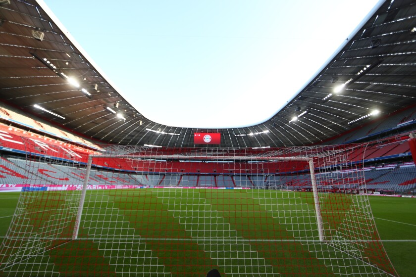 FILE - In this Friday, Sept. 18, 2020 file photo shows the 'Allianz Arena' stadium prior to the German Bundesliga soccer match between FC Bayern Munich and Schalke 04 in Munich, Germany. The Bavarian state government says the Allianz Arena in Munich will fill about 20% of its capacity for games during the European Championship. (AP Photo/Matthias Schrader, file)