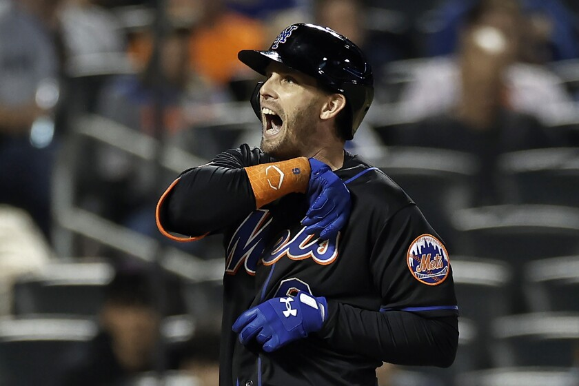 New York Mets' Jeff McNeil reacts after being hit by a pitch during the seventh inning of a baseball game against the New York Yankees, Friday, Sept. 10, 2021, in New York. (AP Photo/Adam Hunger)