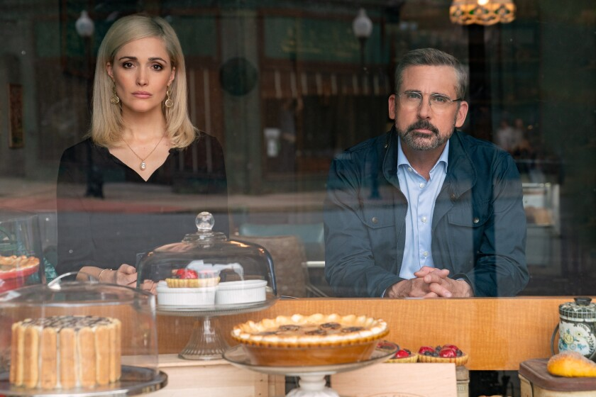 "Rose Byrne and Steve Carell in ""Irresistible."""