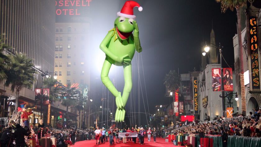 Last year's Hollywood Christmas Parade featured a giant Kermit the Frog float.