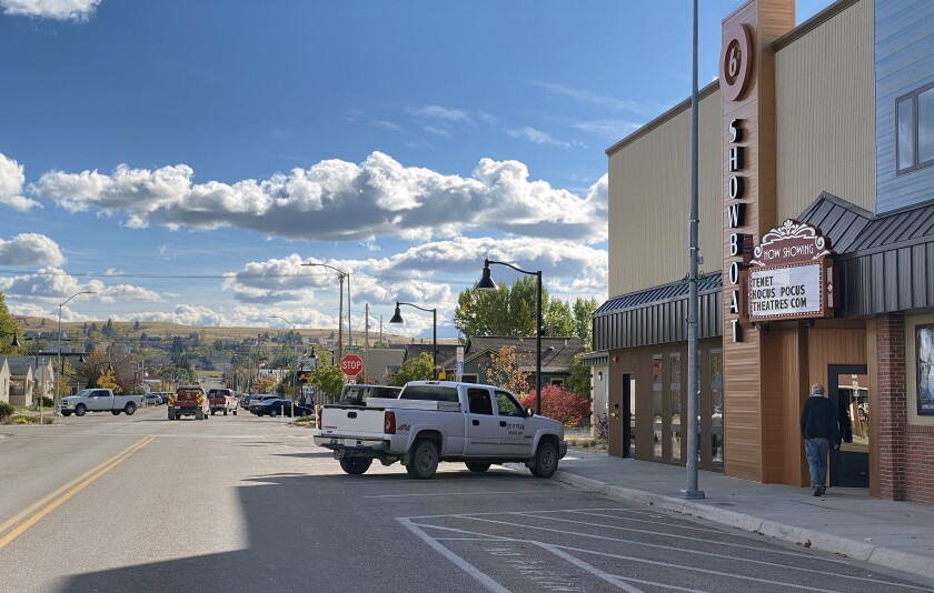"""Main Street in Polson, Mont., where Christopher Nolan's film, """"Tenet"""" is showing at the Showboat Theater."""
