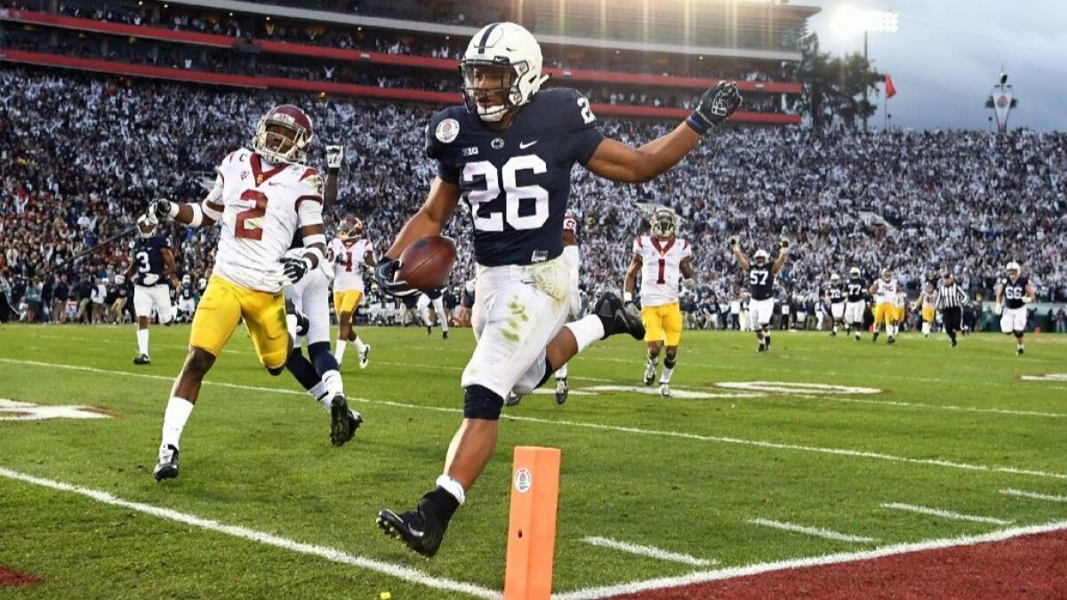 Saquon Barkley Ronald Jones Ii Head A Group Of Solid Running Backs At The Nfl Combine Los Angeles Times