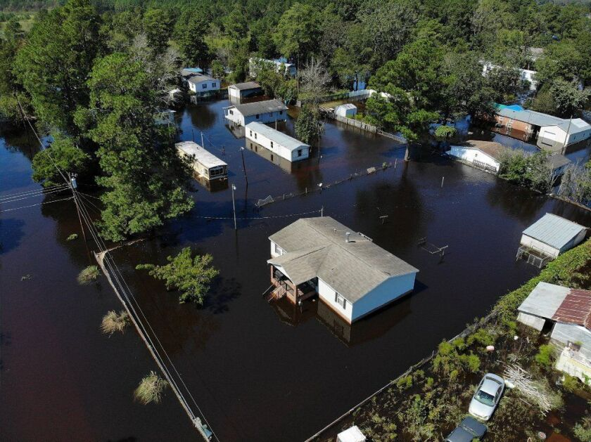 Floodwaters isolate homes in the aftermath of Hurricane Florence in Lumberton, N.C.