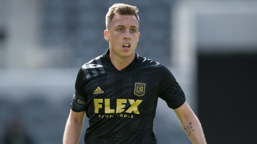 LAFC's Corey Baird is pictured during an MLS match against Austin FC on April 17, 2021.