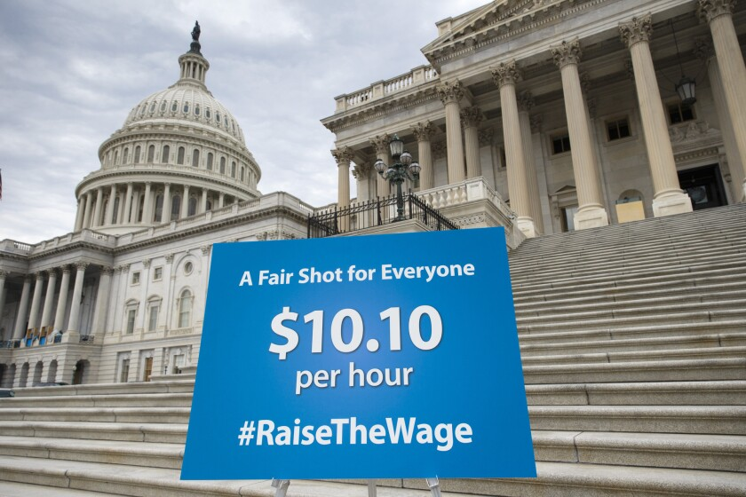 Bill S 2223 would raise the minimum wage from $7.25 to $10.10 in three stages over the coming 2 1/2 years.