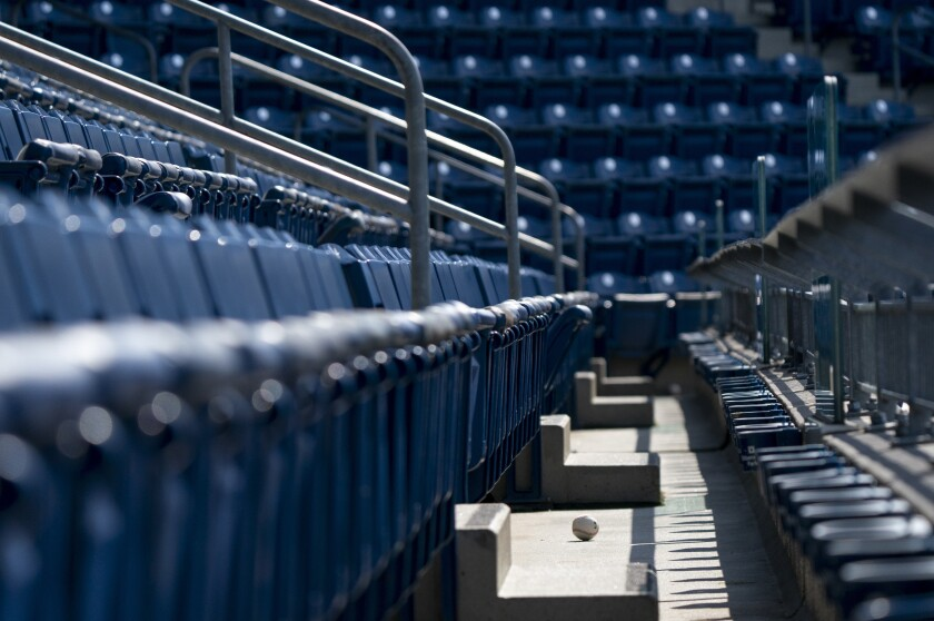 A foul ball sits in the empty stands at Citizens Bank Park