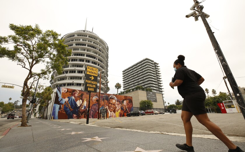 A parking lot on Vine Street next to the Capitol Records Tower is the proposed site for the Hollywood Center project.