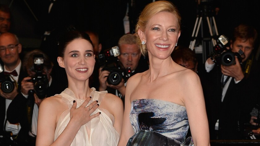 """""""Carol"""" costars Rooney Mara, left, and Cate Blanchett hit the red carpet Sunday for their movie's premiere at the 68th annual Cannes Film Festival."""