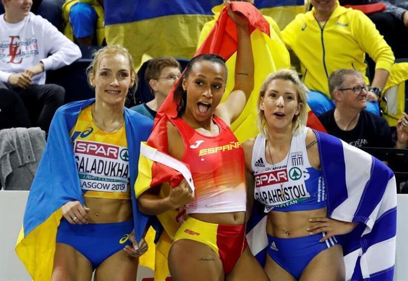 La atleta española Ana Peleteiro al proclamarse campeona de Europa de triple salto en pista cubierta con un nuevo récord de España, 14,73 metros. EFE