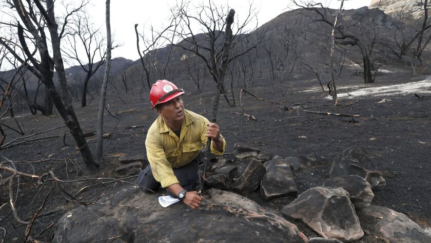 "SANTA MONICA MOUNTAINS-Richard ""Quntan"" Garcia, Chumash Fire Department Fire Captain, demonstrates h"