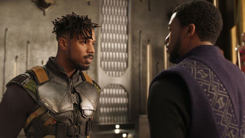(L-R) - Erik Killmonger (Michael B. Jordan) and T'Challa/Black Panther (Chadwick Boseman) in a scene