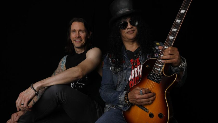 NORTH HOLLYWOOD, CA SEPTEMBER 8, 2018: Portrait of Myles Kennedy, left, and Slash at Mates Vinland