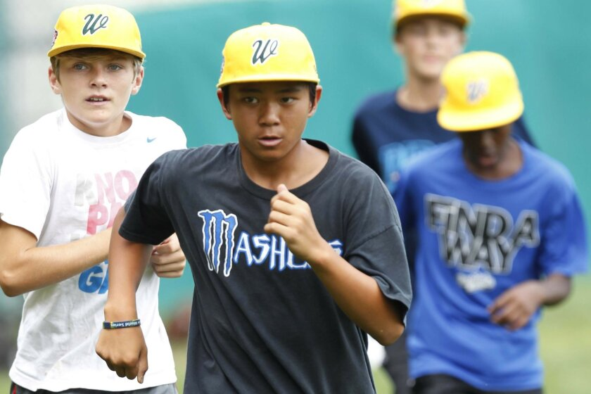 Nick Mora will be the starting pitcher for the Chula vista Team when they take on New England in the National Championship game.  Here he ran during practice on Friday.