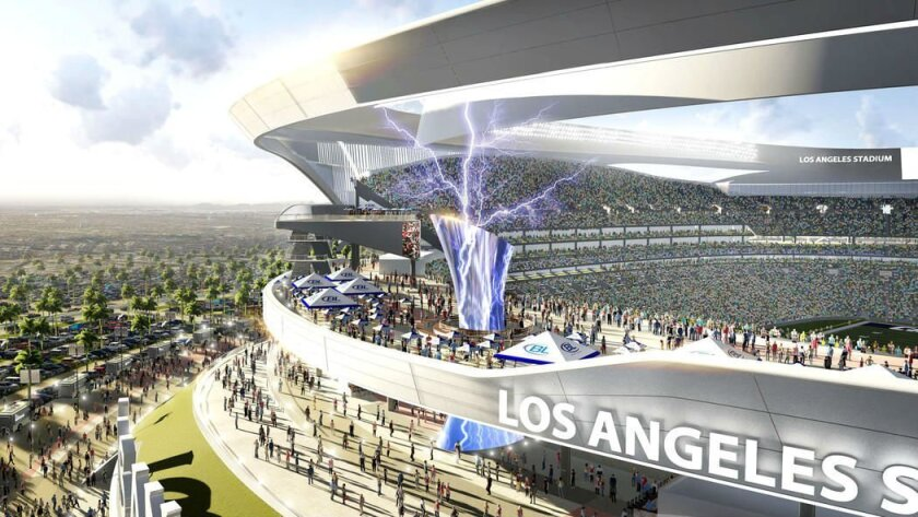 New design for proposed Los Angeles football stadium for the Chargers and Raiders. / Manica Architecture