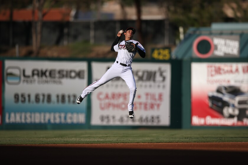 It was Javier Guerra's arm at shortstop, which plays here for Single-A Lake Elsinore in 2016, that had the Padres thinking he could be a pitcher.