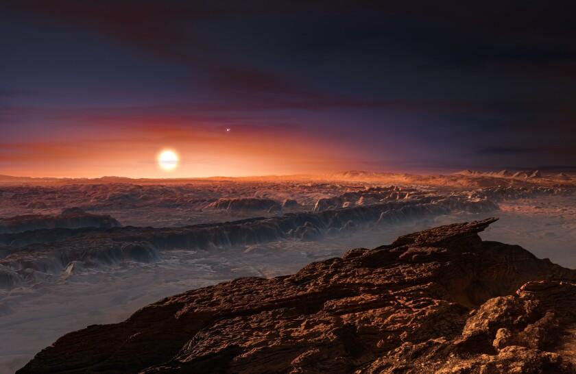 Eta imagen creada por un artista y provista por el Observatorio del Sur de Europa muestra la superficie del planeta Proxima b orbitando a la estrella roja y enana Proxima Centauri, la estrela más cercana al sistema solar. La estrella doble Alpha Centauri AB también aparece en la imagen, arriba a la derecha de Proxima. Proxima b es un poco más grande que la Tierra y orbita en la zona habitable alrededor de Proxima Centauri, donde la temperatura podría permitir que existiera agua líquida en la superficie. (Observatorio del Sur de Europa via AP)