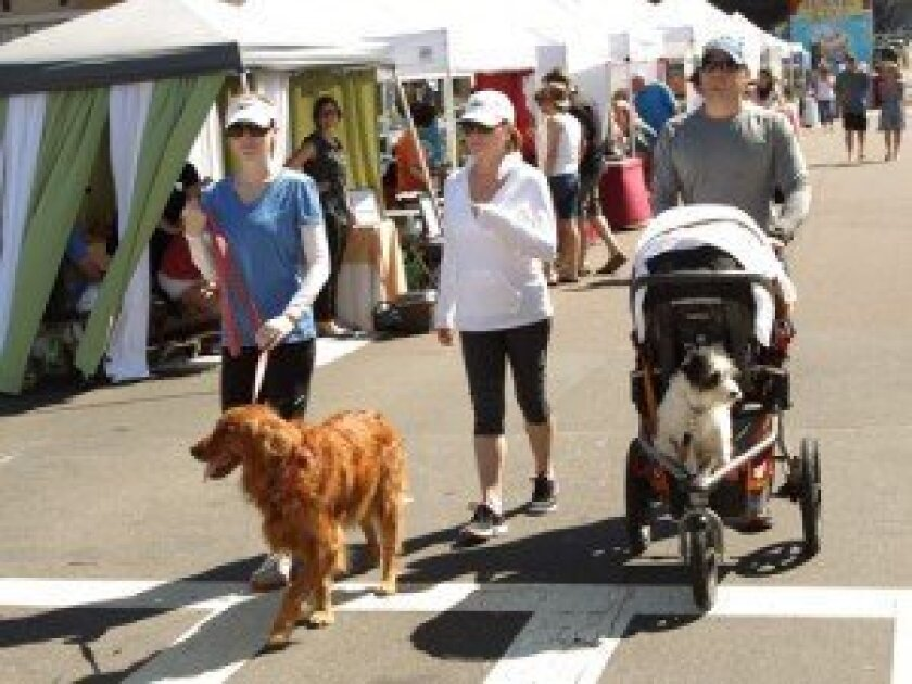 Attendees enjoying last year's Del Mar Taste of Del Mar Art and Pet Stroll. photo by Jon Clark
