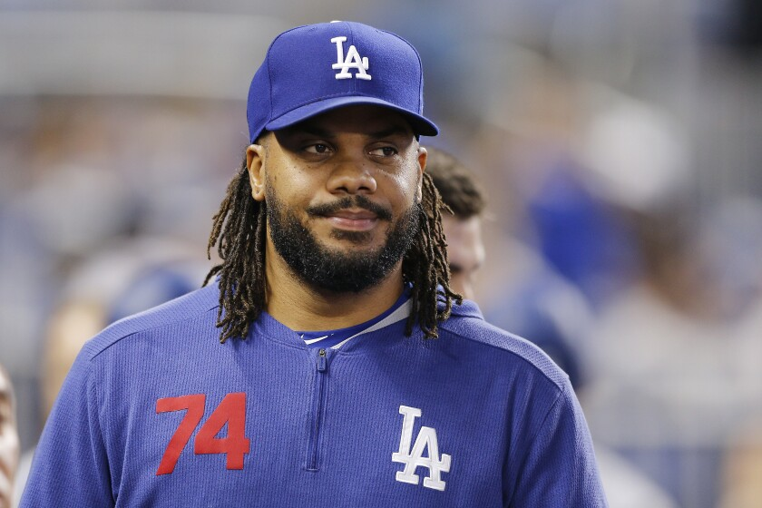 Dodgers closer Kenley Jansen walks on the field before a game against the Miami Marlins on August 15.