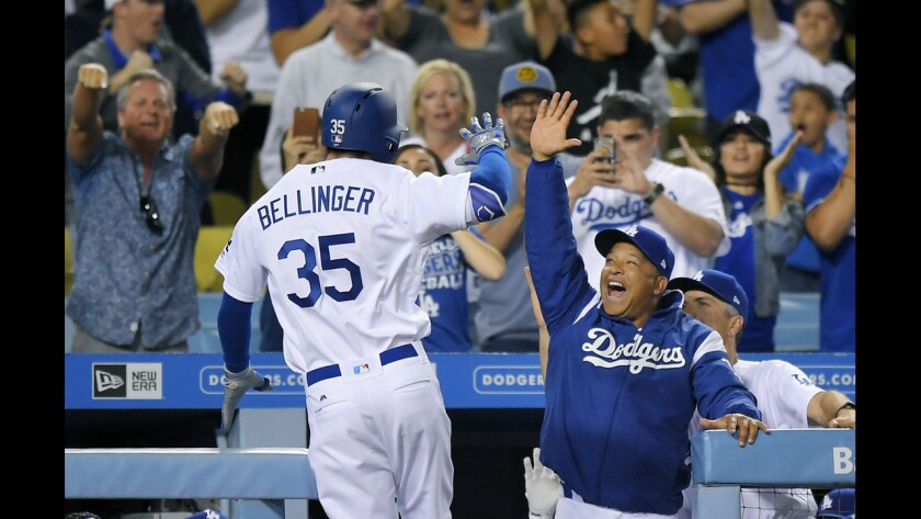 Dodgers left fielder Cody Bellinger is congratulated by manager Dave Roberts after his solo shot in the ninth inning against the Phillies on Saturday night.