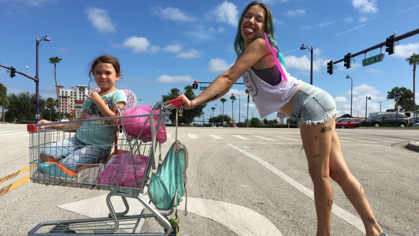 """Brooklynn Prince and Bria Vinaite in """"The Florida Project"""" movie. CREDIT: Marc Schmidt / A24"""