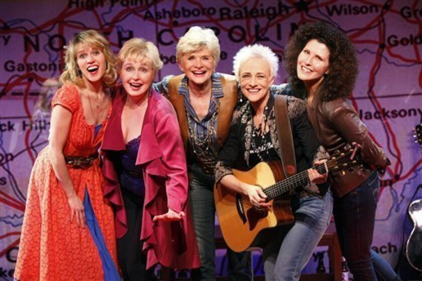 """In this book cover image released by Keith Sherman & Associates, from left, Lauren Kennedy, Sally Mayes, Teri Ralston, Gina Stewart and Liza Vann star in the musical """"Good Ol' Girls,"""" now playing off-Broadway at the Black Box Theatre in New York. (AP Photo/Keith Sherman & Associates, Carol Rosegg)"""