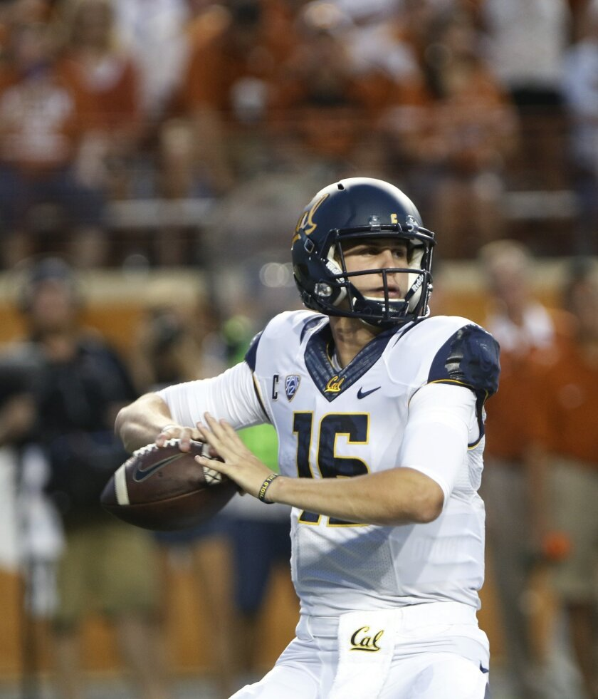 California quarterback Jared Goff looks to throw during the first half of an NCAA college football game against Texas, Saturday, Sept. 19, 2015, in Austin, Texas. (AP Photo/Michael Thomas)