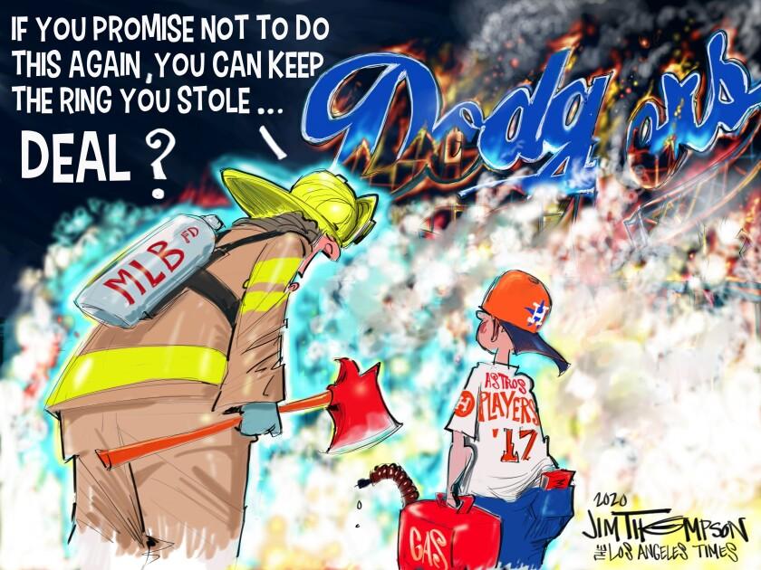 Cartoonist Jim Thompson illustrates the Astros' sign-stealing scandal.