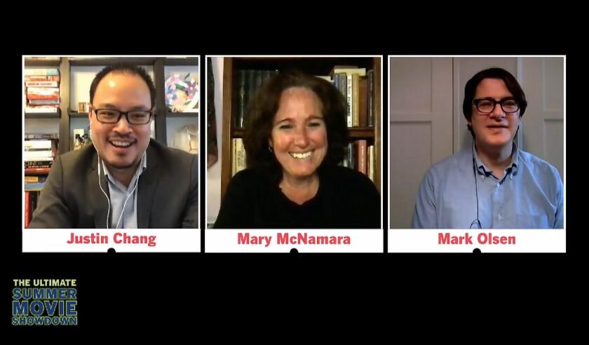 Los Angeles Times film critic Justin Chang, Mary McNamara, and Mark Olsen