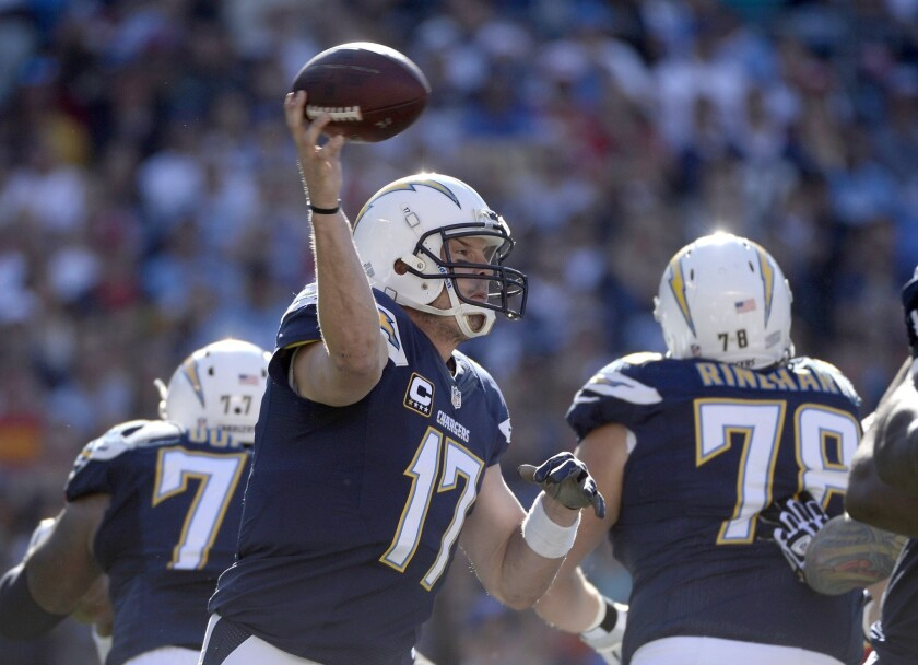 San Diego Chargers quarterback Philip Rivers throws a pass against the Kansas City Chiefs at Qualcomm Stadium.