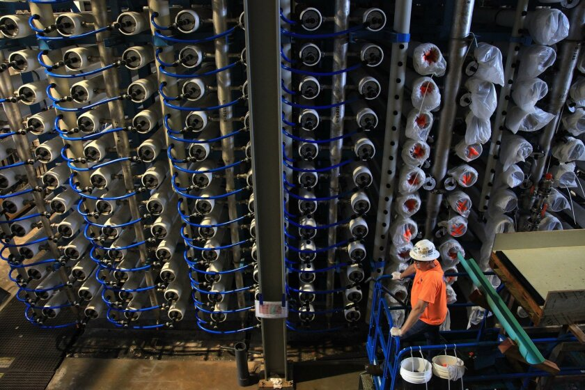 Reverse osmosis membranes installed at the Poseidon desalination plant in Carlsbad ahead of its completion last December.