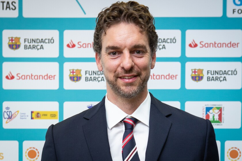 Pau Gasol appears at an event in Madrid for his charitable foundation on Sept. 3, 2019.
