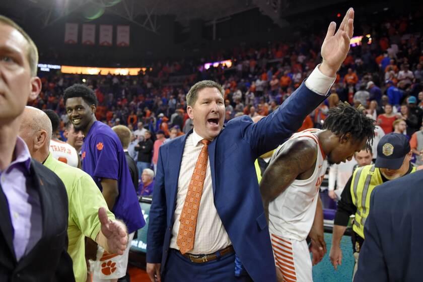 Clemson head coach Brad Brownell reacts after an NCAA college basketball game against Duke Tuesday, Jan. 14, 2020, in Clemson, S.C. Clemson won 79-72. (AP Photo/Richard Shiro)