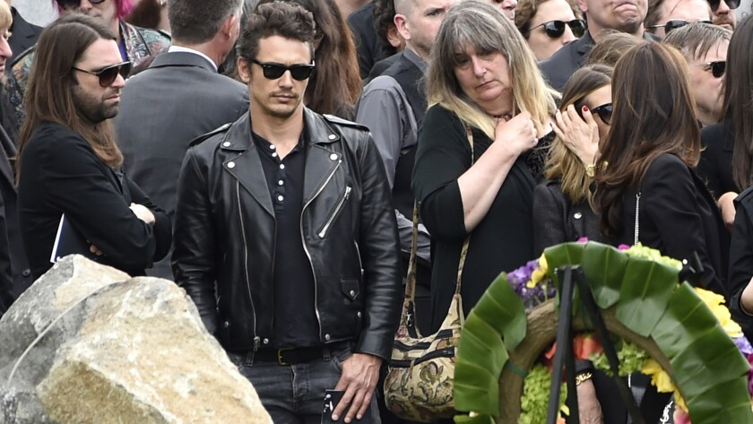 James Franco, second left, attends a funeral for Chris Cornell at the Hollywood Forever Cemetery in