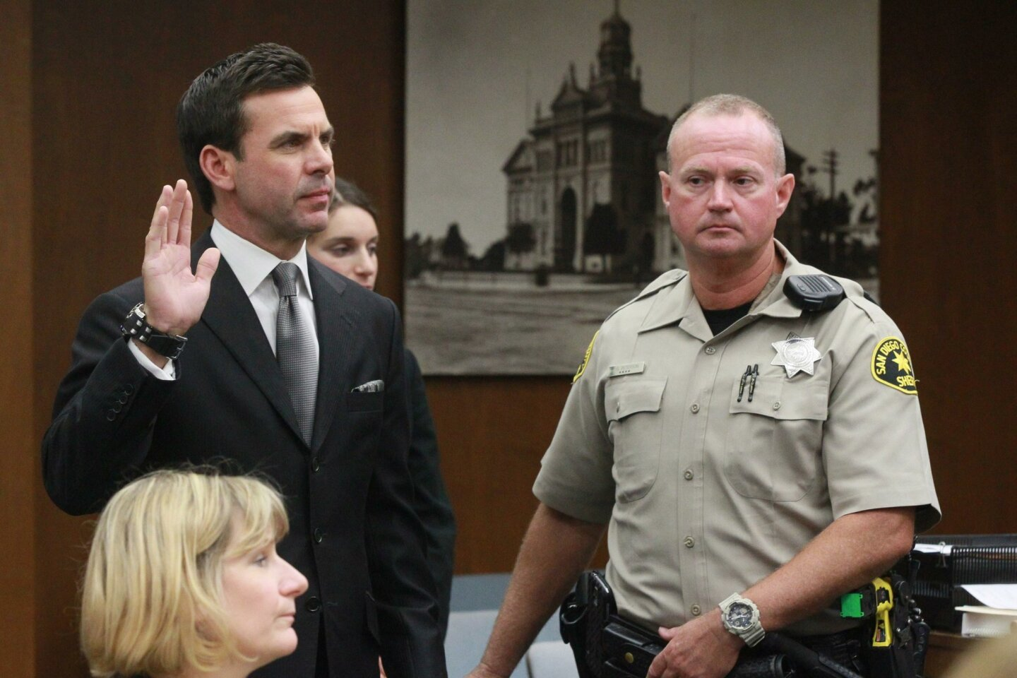 Kyle Kraska, left,  was sworn in during the preliminary hearing.