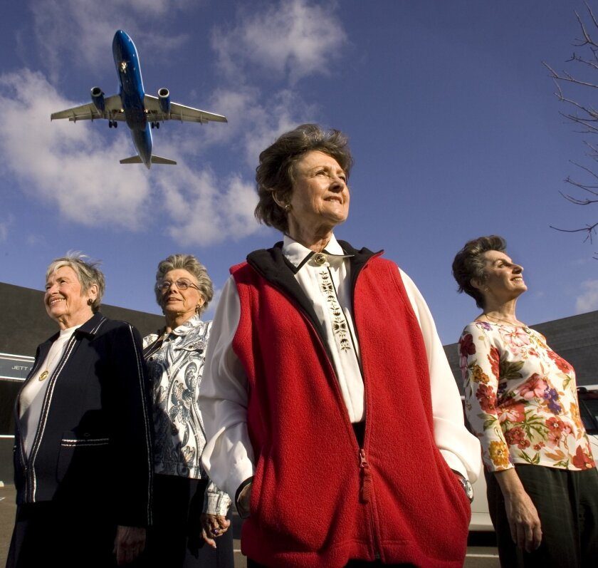 "Former United Airlines flight attendants (from left) Nancy Brock, Randy Tidmore, Carol Wisham and Suzie Turner together put in about 120 years of flight time during their careers. The San Diego County residents reflect on those days and on ""Boeing Boeing."""