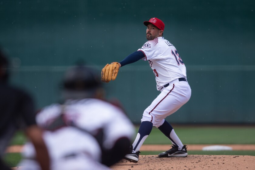 Reno Aces pitcher Zach Lee pitches during a game.