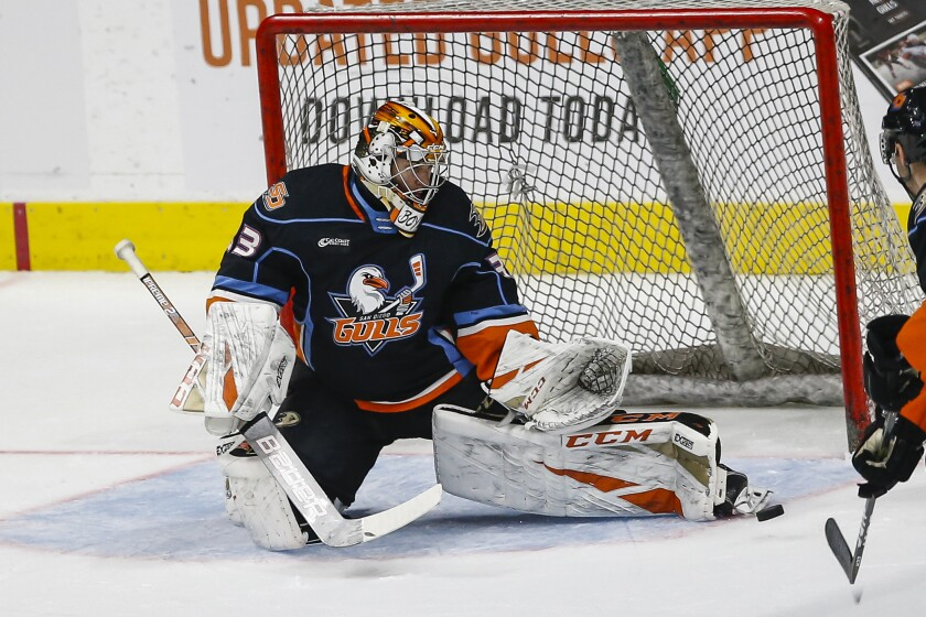 Gulls Goalie Kevin Boyle (33) makes a save with his skate in the first period against Ontario.