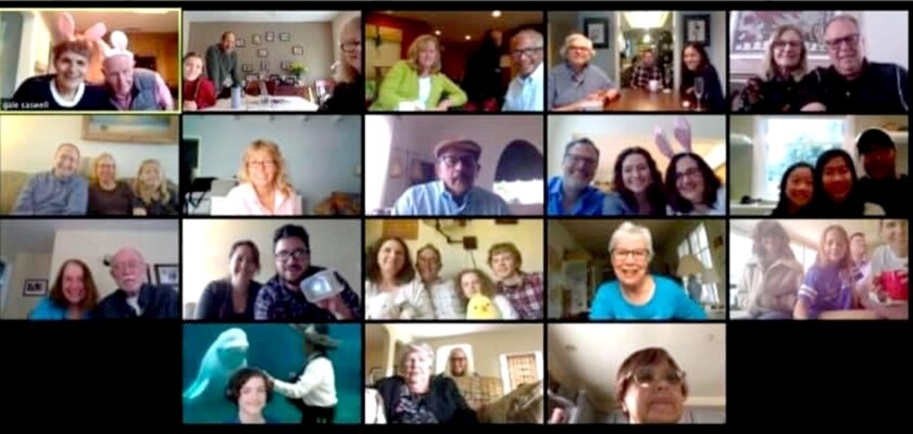 The extended Caswell family and friends take part in an Easter gathering over Zoom.