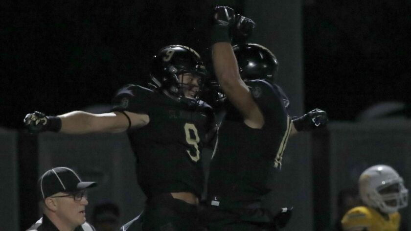 BELLFLOWER, CALIF. - AUG. 31, 2018. Bosco wide receiver Colby Bowman (9) celebrates after making a