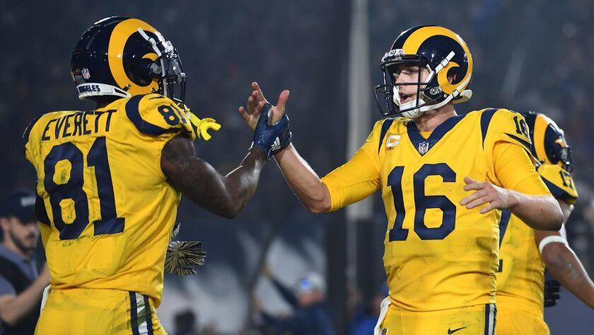 LOS ANGELES, CALIFORNIA NOVEMBER 19, 2018-Rams quarterback Jared Goff (16) celebrates with tight end
