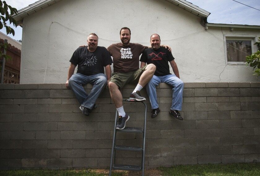 "Ben Zook, left, his husband, Joe Dietl, and Rick Copp star in ""Where the Bears Are,"" a Web comedy series filmed mostly at Ben and Joe's L.A. home."