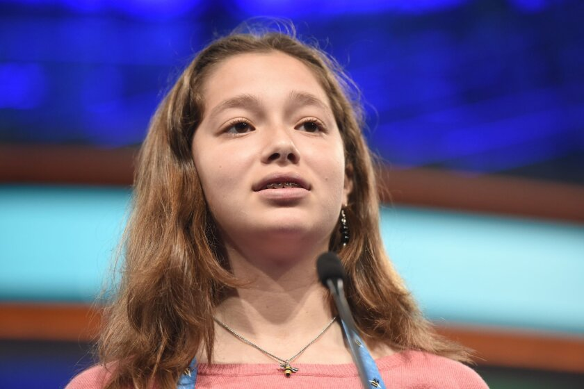 Ella Grace Peters competes during the 2016 Scripps National Spelling Bee at the Gaylord National Resort and Convention Center.