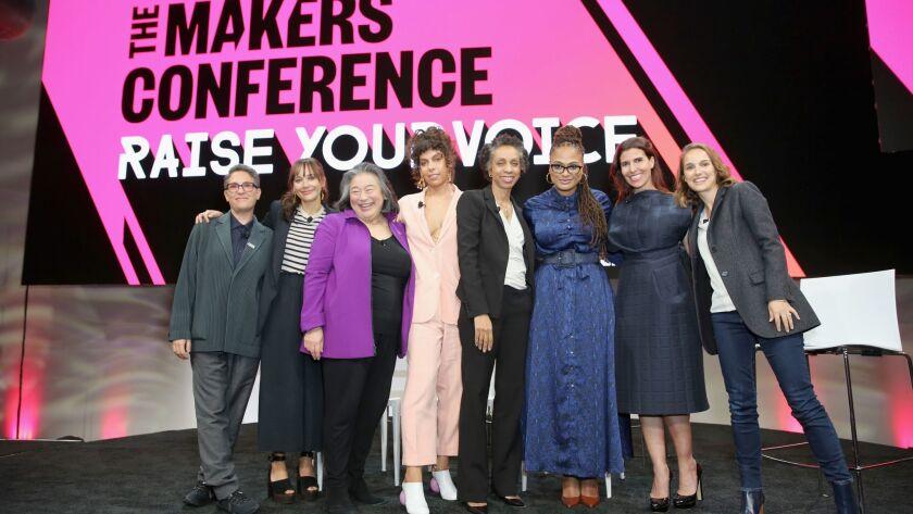 The 2018 Makers Conference began Monday with a panel featuring Jill Soloway, left, Rashida Jones, Tina Tchen, Melina Matsoukas, Nina Shaw, Ava DuVernay, Maha Dakhil and Natalie Portman.