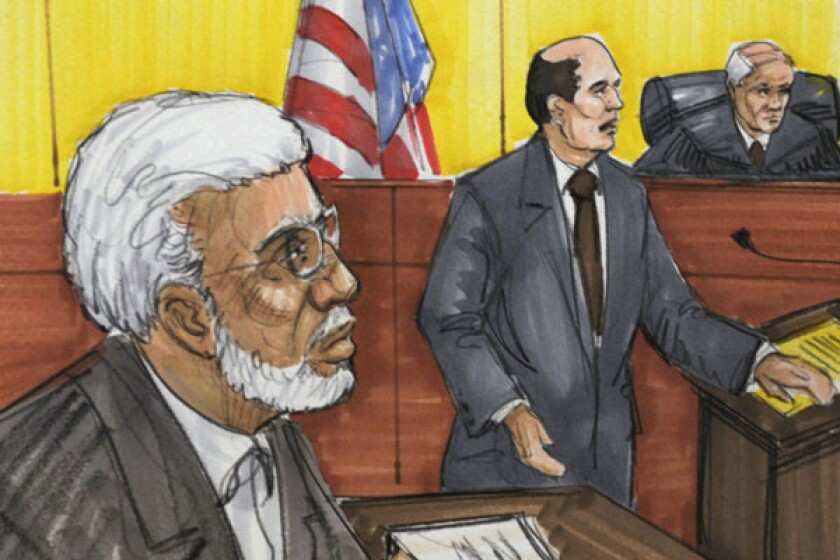 A courtroom sketch shows Chicago businessman Tahawwur Rana, left, in federal court in Chicago. Rana was sentenced for supporting the Pakistani terrorist group that staged deadly attacks on Mumbai in 2008.