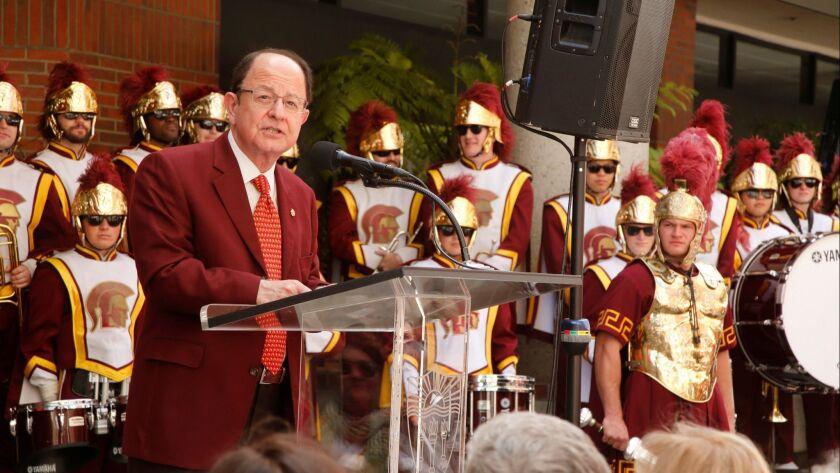 USC President Max Nikias addressing students on May 6.
