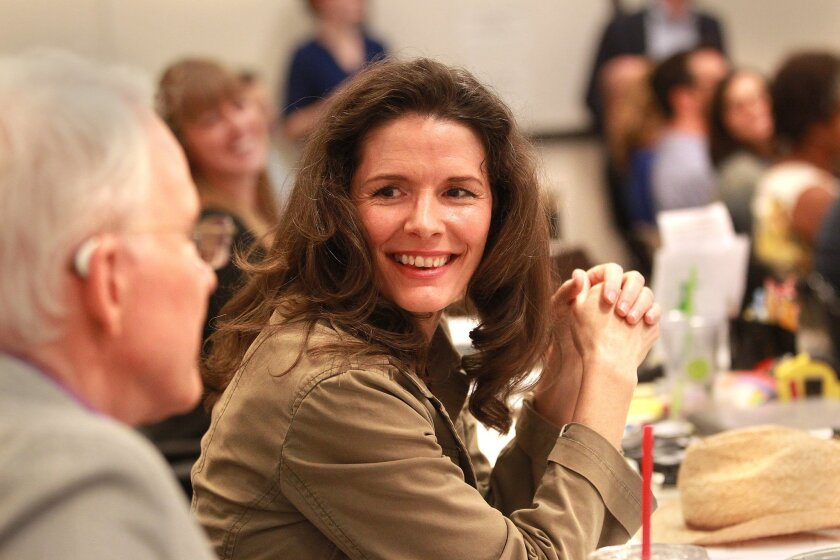 Local media were invited to the Old Globe Theater rehearsal room for a sneak premiere of Bright Star, a new American musical from co-creators Steve Martin, left, and Edie Brickell.